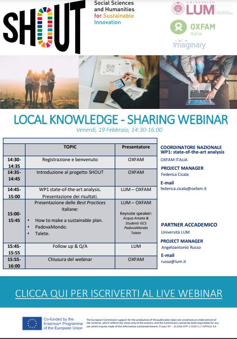 SHOUT – Scienze Umanistiche e Sociali per Soluzioni Sostenibili Webinar nazionale